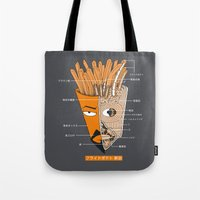 french fries Tote Bags featuring French Fries Anatomy by pigboom el crapo