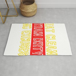 """Are you a gym goer? Gym Freak? Loves to build muscles? """"Eat clean, Train dirty, No Excuses""""t-shirt Rug"""