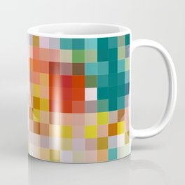 Flower pot - abstract mosaic background with colorful squares Coffee Mug