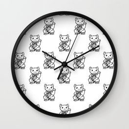 Lucky Cat Print Wall Clock