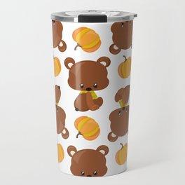 Pattern Of Cute Bears, Pumpkins, Fall Animals Travel Mug