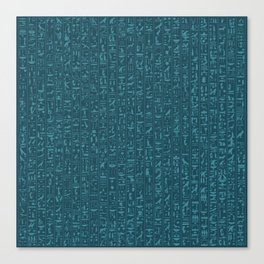Hieroglyphics Moonstone BLUE / Ancient Egyptian hieroglyphics pattern Canvas Print