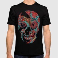 Rooster Skull Mens Fitted Tee X-LARGE Black