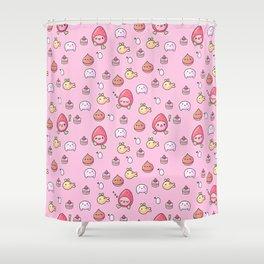 Ichigotchi Tamagotchi Pattern Shower Curtain