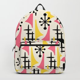 Mid Century Modern Atomic Wing Composition Pink & Yellow Backpack