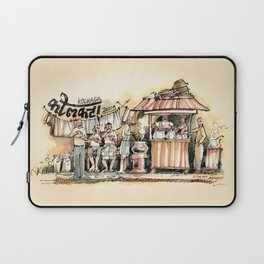 Kolkata India Sketch in Watercolor | City View | Street Food Stall | Calcutta West Bengal Laptop Sleeve