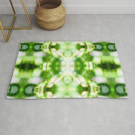Abstract green nature bokeh background pattern surreal shaped symmetrical kaleidoscope Rug