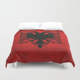 National flag of Albania with Vintage textures Duvet Cover