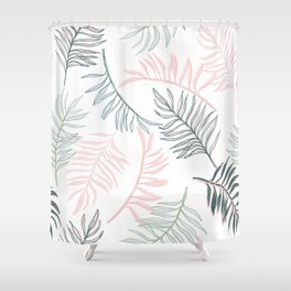 Large Pastel Palm Leaf Line Drawing Pattern - White Shower Curtain