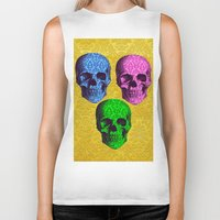 damask Biker Tanks featuring 3 Damask skulls. on damask. by Drew Mandigo