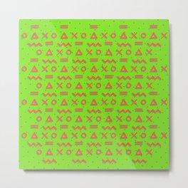 Geometric Linear Pattern (green) Metal Print