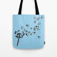dandelion Tote Bags featuring DandeLion by Erik Sandi Satresa