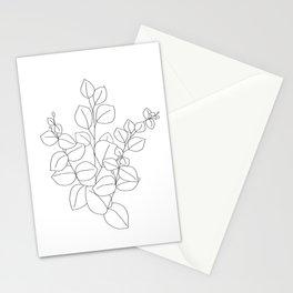 Minimalistic Eucalyptus  Line Art Stationery Cards