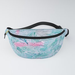abstract 2, light blue with pink pattern Fanny Pack