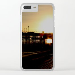 sundown at the pier Clear iPhone Case
