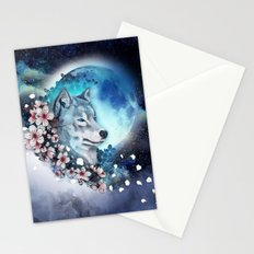 wolf and sakura in the moolight Stationery Cards