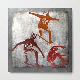 Skateboard Petroglyph Metal Print