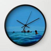 pennywise Wall Clocks featuring Island Sundays by John Medbury (LAZY J Studios)