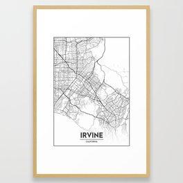 Minimal City Maps - Map Of Irvine, California, United States Framed Art Print