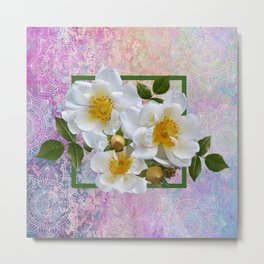 White Flowers with Inset Metal Print