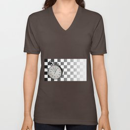 Chequered Flag and Stop Watch Unisex V-Neck