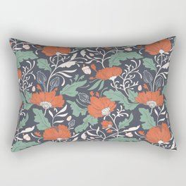 Autumn Poppy Floral Rectangular Pillow