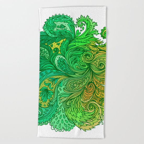 Green Floral Indian Pattern Beach Towel