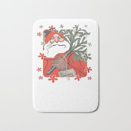 Santa Claus Delivering Christmas Pudding Kerstpudding Vector Bath Mat