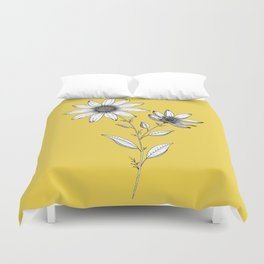 Wildflower line drawing | Botanical Art Duvet Cover