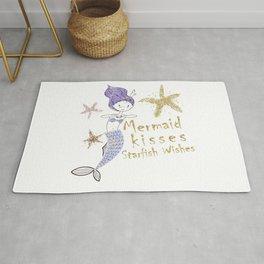 Purple & Gold Glitter Mermaid Kisses Starfish Wishes Rug
