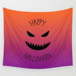 Happy Halloween - Orange and Purple Wall Tapestry