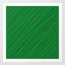 Wicker ornament of their green threads and blue intersecting fibers. Art Print