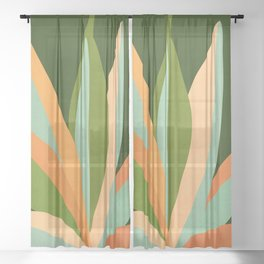 Colorful Agave / Painted Cactus Illustration Sheer Curtain