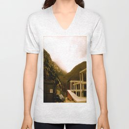 Stand here with the mountain in background Unisex V-Neck