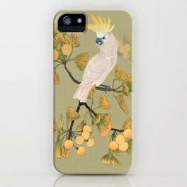 Cockatoo and Ginkgo Tree iPhone Case