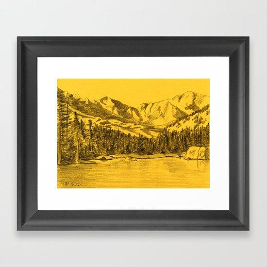 Yellow Rocky Mountains Framed Art Print