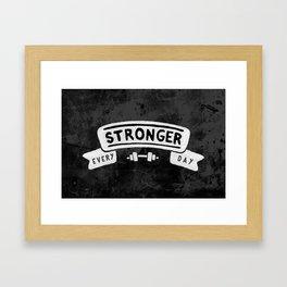 Stronger Every Day (dumbbell, black & white) Framed Art Print