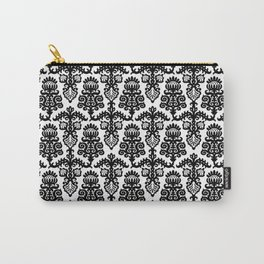 Floral Pattern Black & White Carry-All Pouch