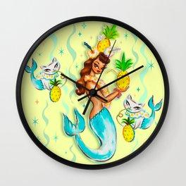 Tropical Pineapple Mermaid with Merkitties Wall Clock