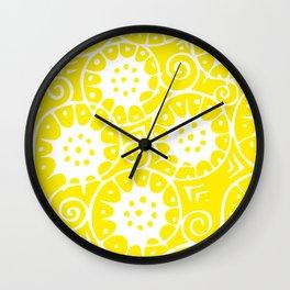 Lemon Swirl Pattern | Swirl Pattern | Abstract Patterns | Yellow and White | Wall Clock