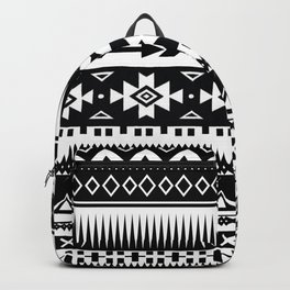 Aztec Pattern Black and White Backpack