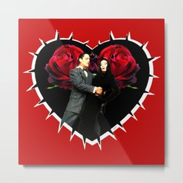 Gomez and Morticia Thorny Heart Metal Print