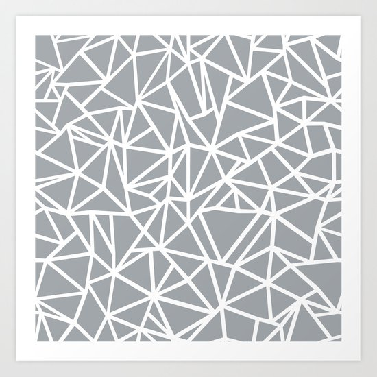 Abstract Outline Thick White on Grey Art Print