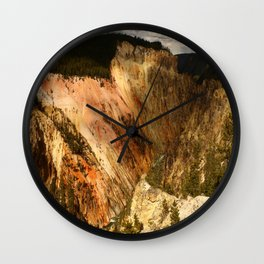 Yellow Rocks Of The Yellowstone Valley Wall Clock