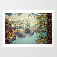 Mountains Forest Lake Water - Phantom Ship Island Crater Lake Oregon Art Print