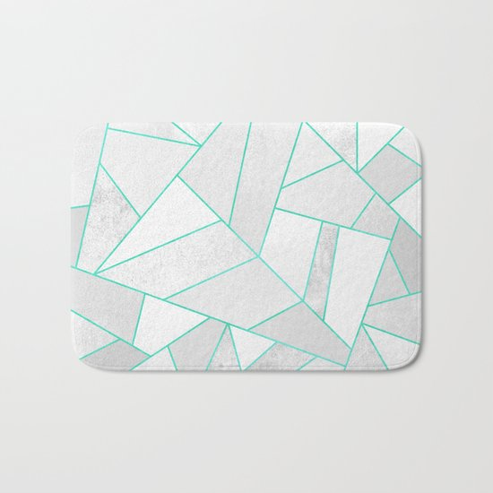 White Stone with Turquoise Lines Bath Mat