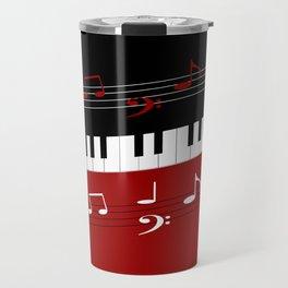 Stylish red. black and white piano keys and musical notes Travel Mug