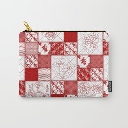 Redwork Floral Quilt Carry-All Pouch
