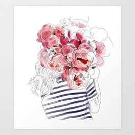 Back from the flower market - Peonies bouquet illustration Art Print