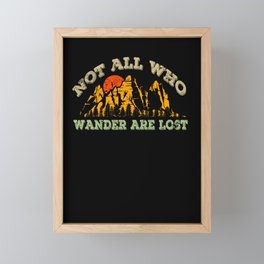 Not All Who Wander Are Lost Simple Mountains Vintage Style Framed Mini Art Print